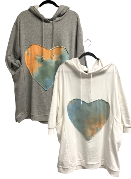 LS Terry Knit Printed Heart Dress W/Hoodie