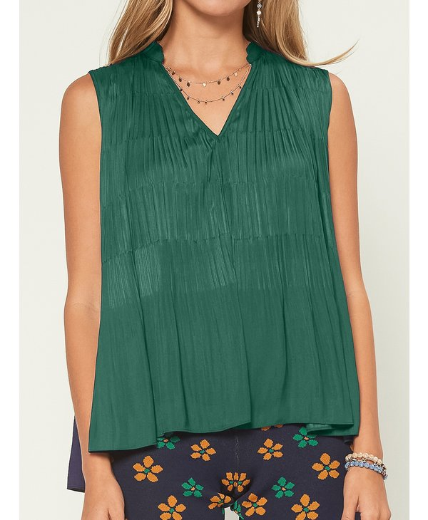 Emerald Pleated Top