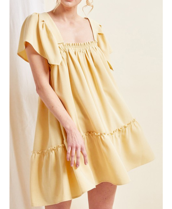 Flutter Sleeve Babydoll Mini Dress