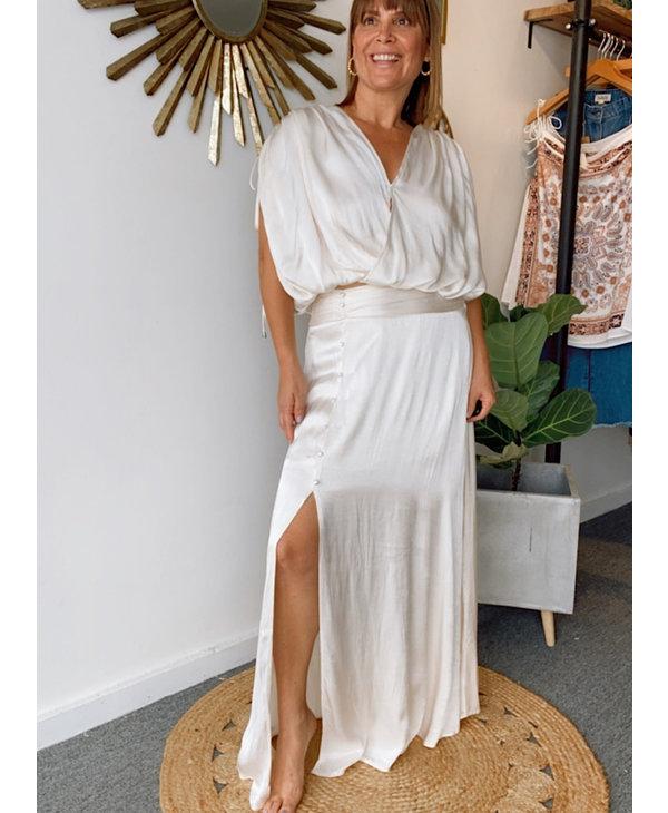 Surplice Wrap Top W/Side Maxi Skirt