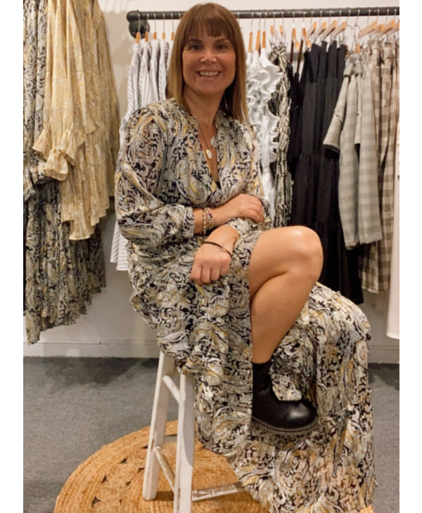Paisley V-Neck Midi Dress