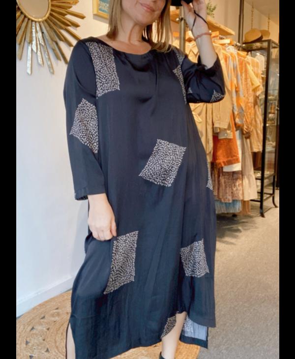 Square Print Satin Dress