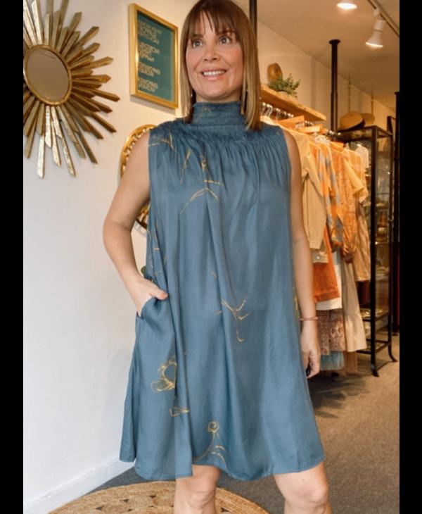 Smocked Neck Mini Dress