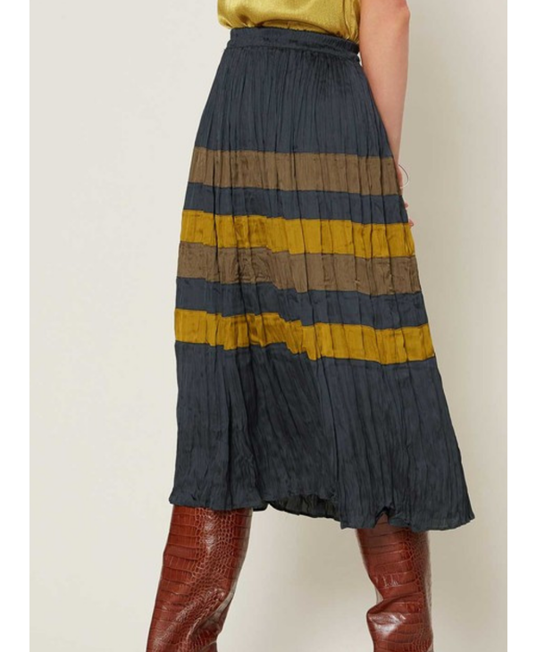 Color Blocked Midi Skirt