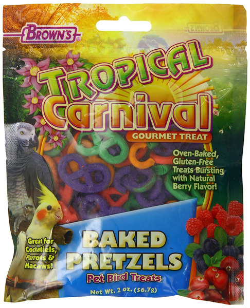 FM Browns Brown's Tropical Carnival Baked Pretzels Bird Treats 2 oz