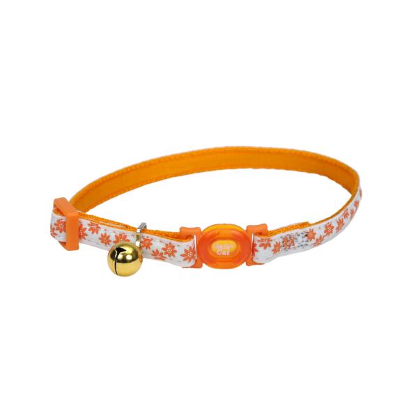 "Coastal Pet Products Coastal Safe Cat Glow in the Dark Breakaway Collar 8-12"" Orange Flower"
