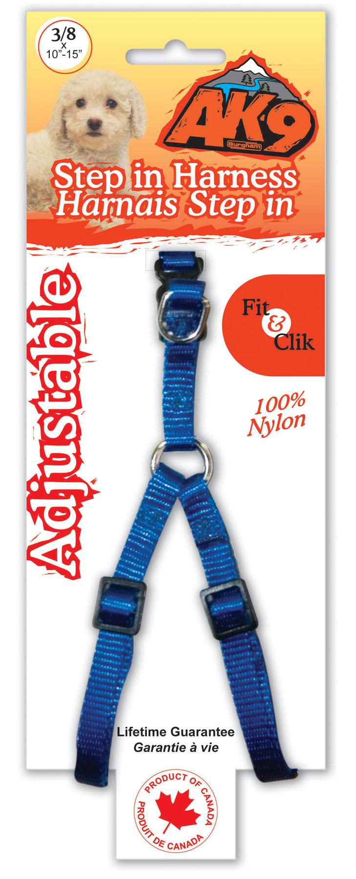 """Burgham AK-9 Nylon AK-9 Nylon StepIn Harness 3/8"""" x 10-15"""""""