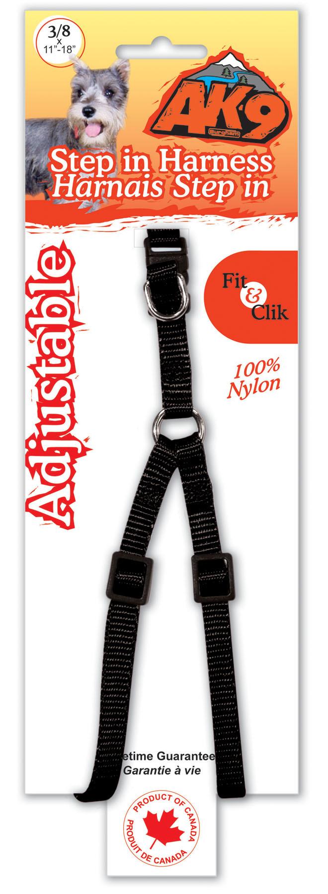 """Burgham AK-9 Nylon AK-9 Nylon Step In Harness 3/8"""" x 11-18"""""""