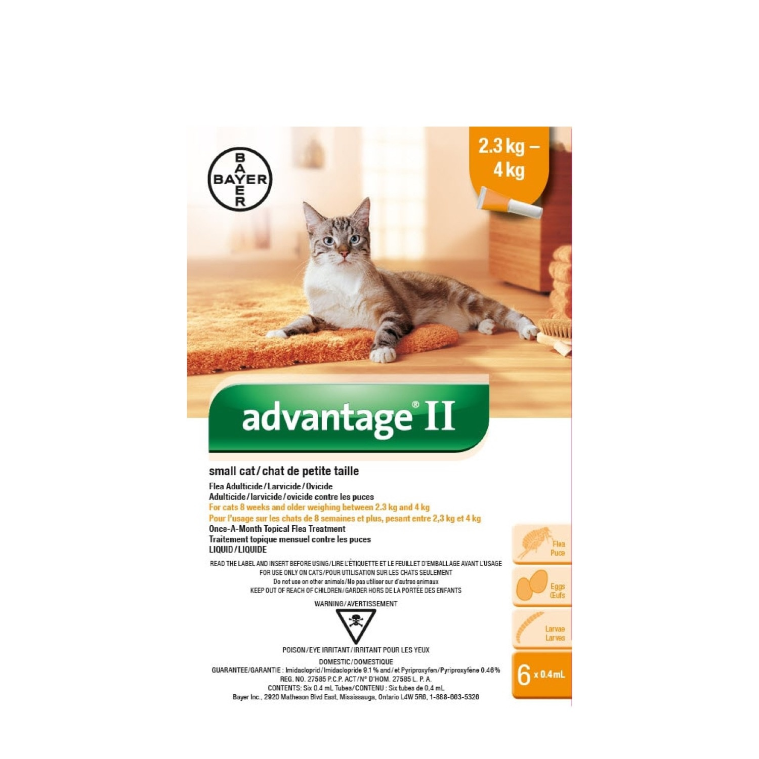 Bayer Bayer Advantage II Small Cat 2.3kg-4kg