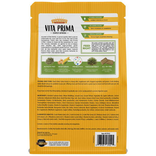 SunSeed Sunseed Vita Prima Critter Cubes Formulated Diet 2lb