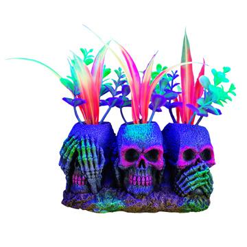 Marina Marina iGlo Ornament - 3 Skulls with Plants - Small - 14 cm (5.5 in)