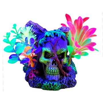 Marina Marina iGlo Ornament - Skull with Vines and Plants - 11 cm (4.5 in)