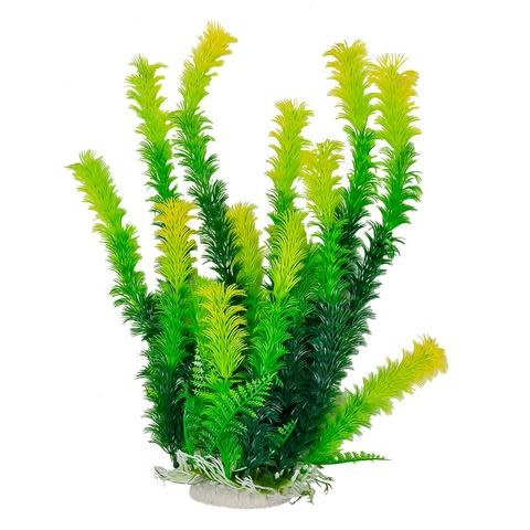 Aquatop AQUATOP Artificial Plant W/ Weighted Base -Green Plant Light Yellow Tips
