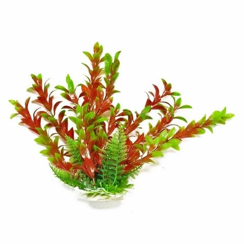 Aquatop AQUATOP Artificial Plant W/ Weighted Base -Hygro-Like (Green/Red)