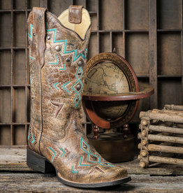 Corral Women's Turquoise and Bronze Aztec Western Boots