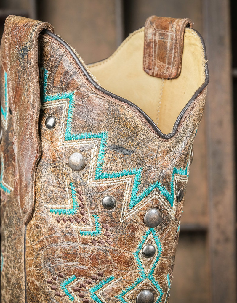 Corral Women's Turquoise and Bronze Aztec Western Boots E1024