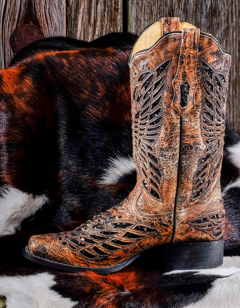 Corral Women's Bronze/Black Sequins & Crystal Butterfly Square Toe Boot  R1226