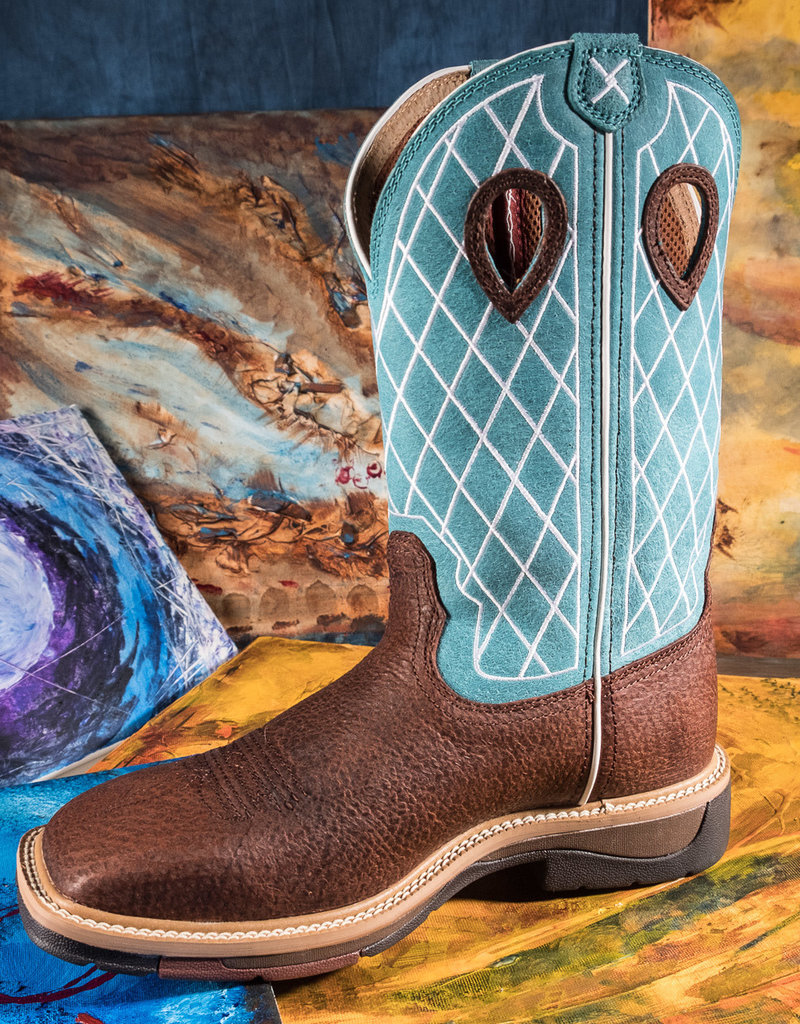 Twisted X Men's Twisted X Lite Cowboy Work Boot Turquoise/Distressed MLCW021