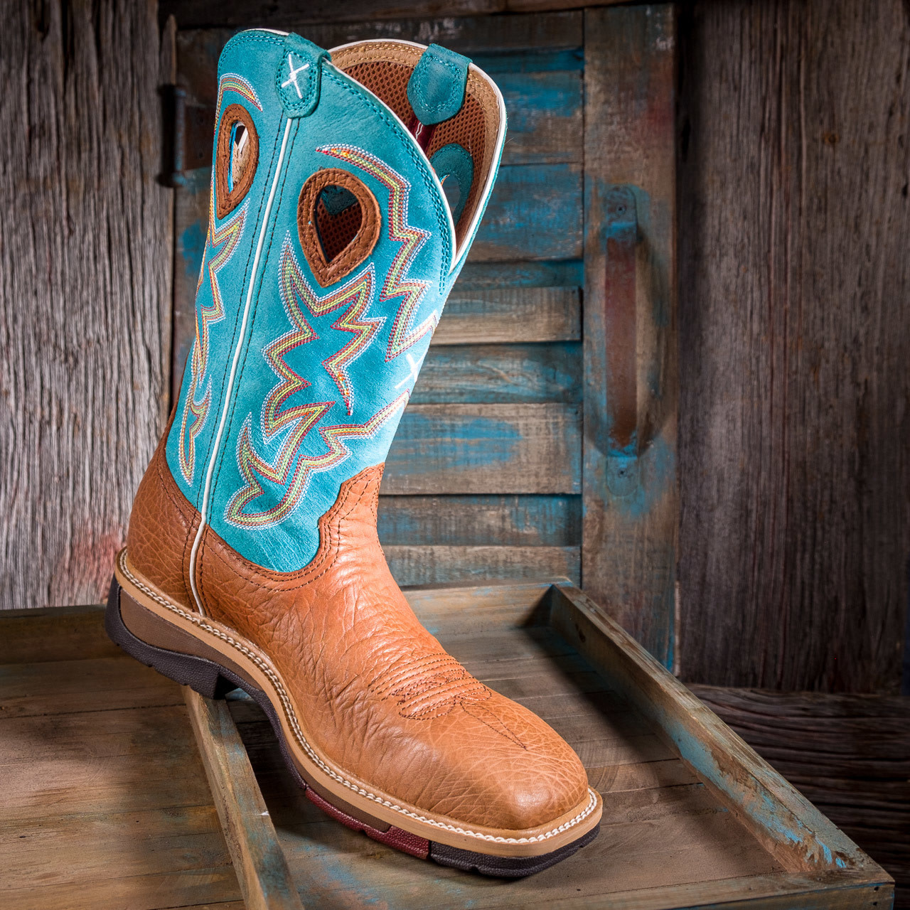 ceeb1288170 Men's Twisted X Lite ST Cowboy Workboot Cognac Bull Hide and Turquoise