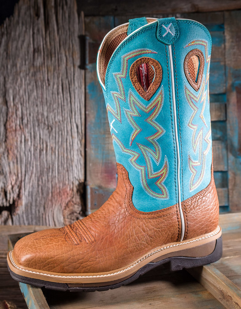Twisted X Men's  Lite ST Cowboy Workboots Cognac/Turquoise  MLCS020