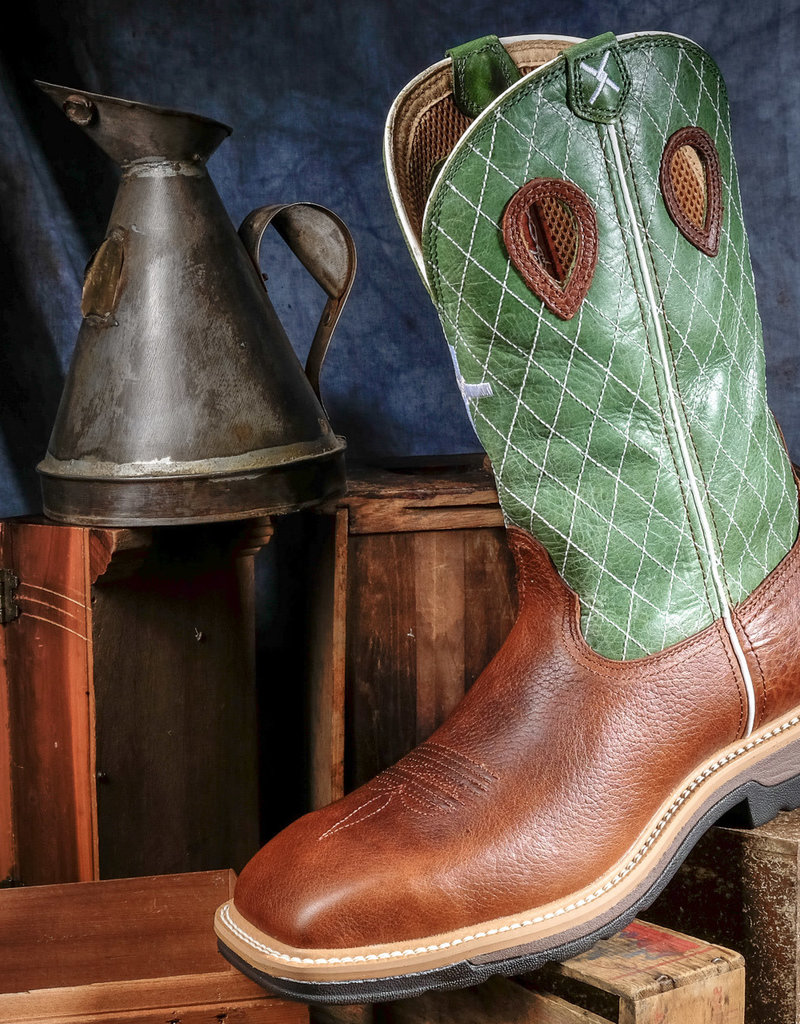 Twisted X Men's Lite Work ST Boot Cognac and Green MLCS002