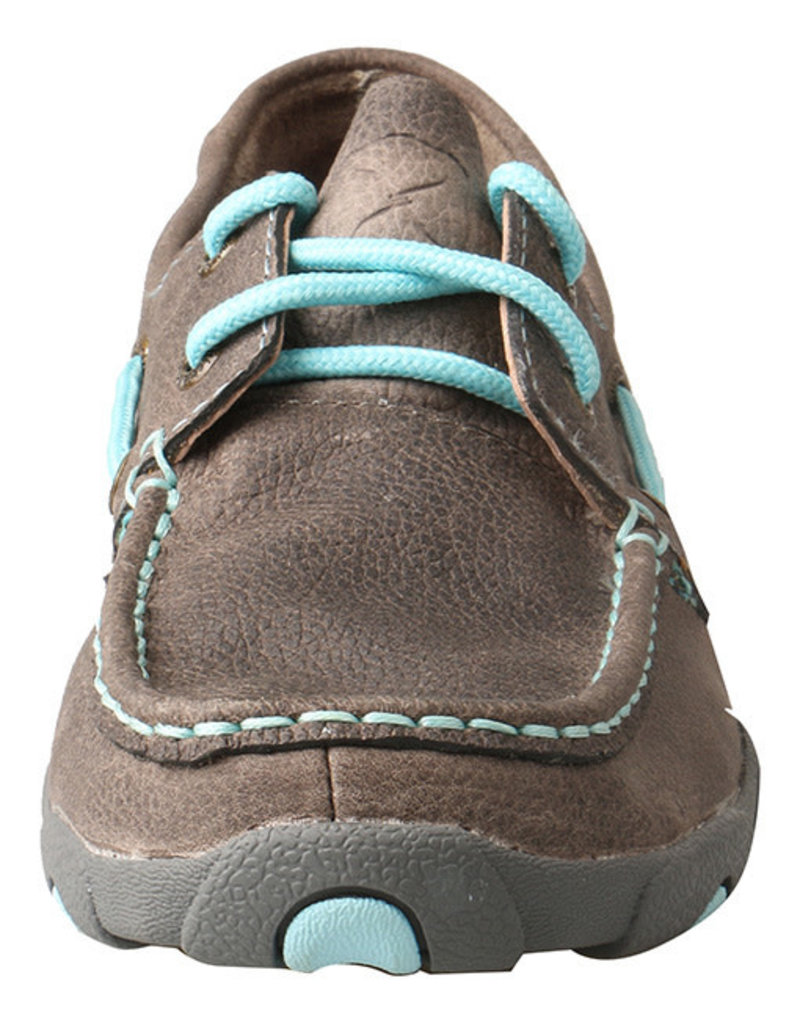Twisted X Women's Light Grey and Blue Boat Shoe Driving Moccasins WDM0098