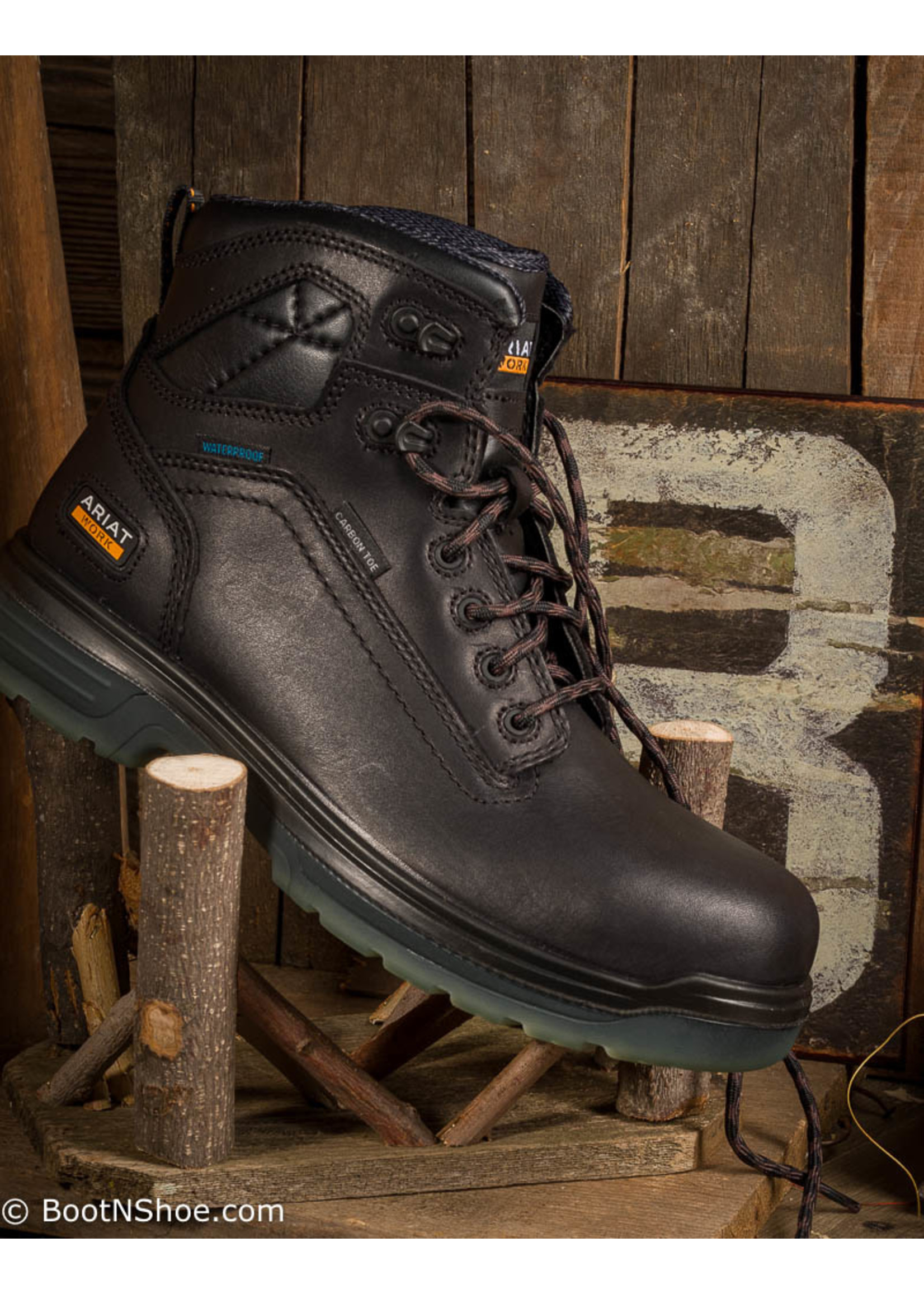 Ariat Men's Composite Toe Lace-up Black Waterproof Work Boots 10027337