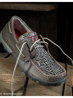 Twisted X Women's Distressed Gray Floral Tooled Driving Moc