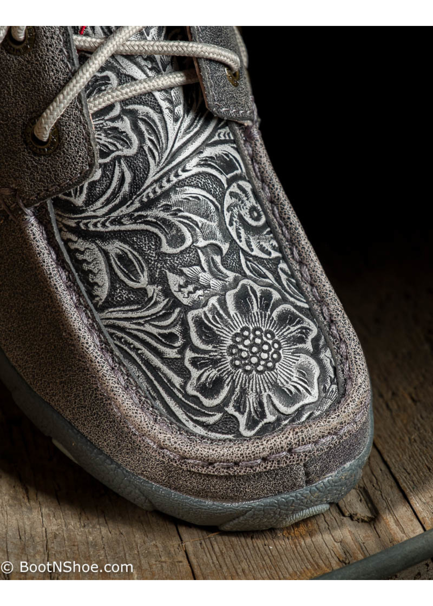 Twisted X Women's Distressed Gray Floral Tooled Driving Moc WDM0130