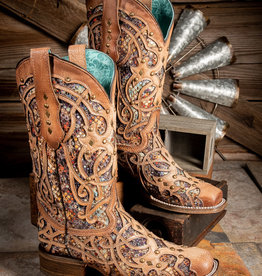 Corral Women's Light Brown Bone Square Toe w/ Multicolor Inlay Western Boot C3405