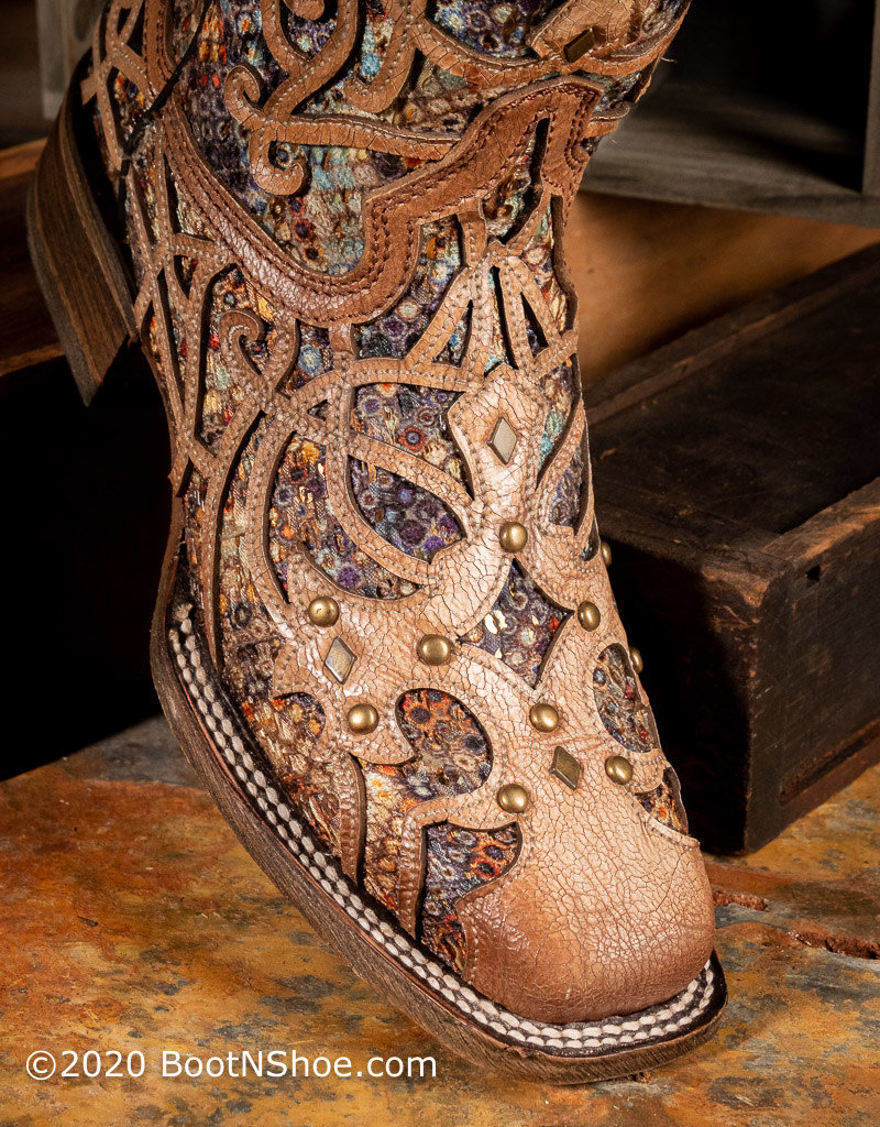 Corral Women's Light Brown Bone Square Toe w/ Multicolor Inlay Western Boot C3405