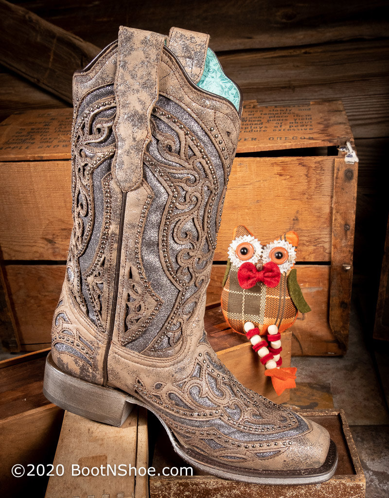 Corral Women's Brown/ Grey Shimmer Inlay Square Toe Western Boots E1512