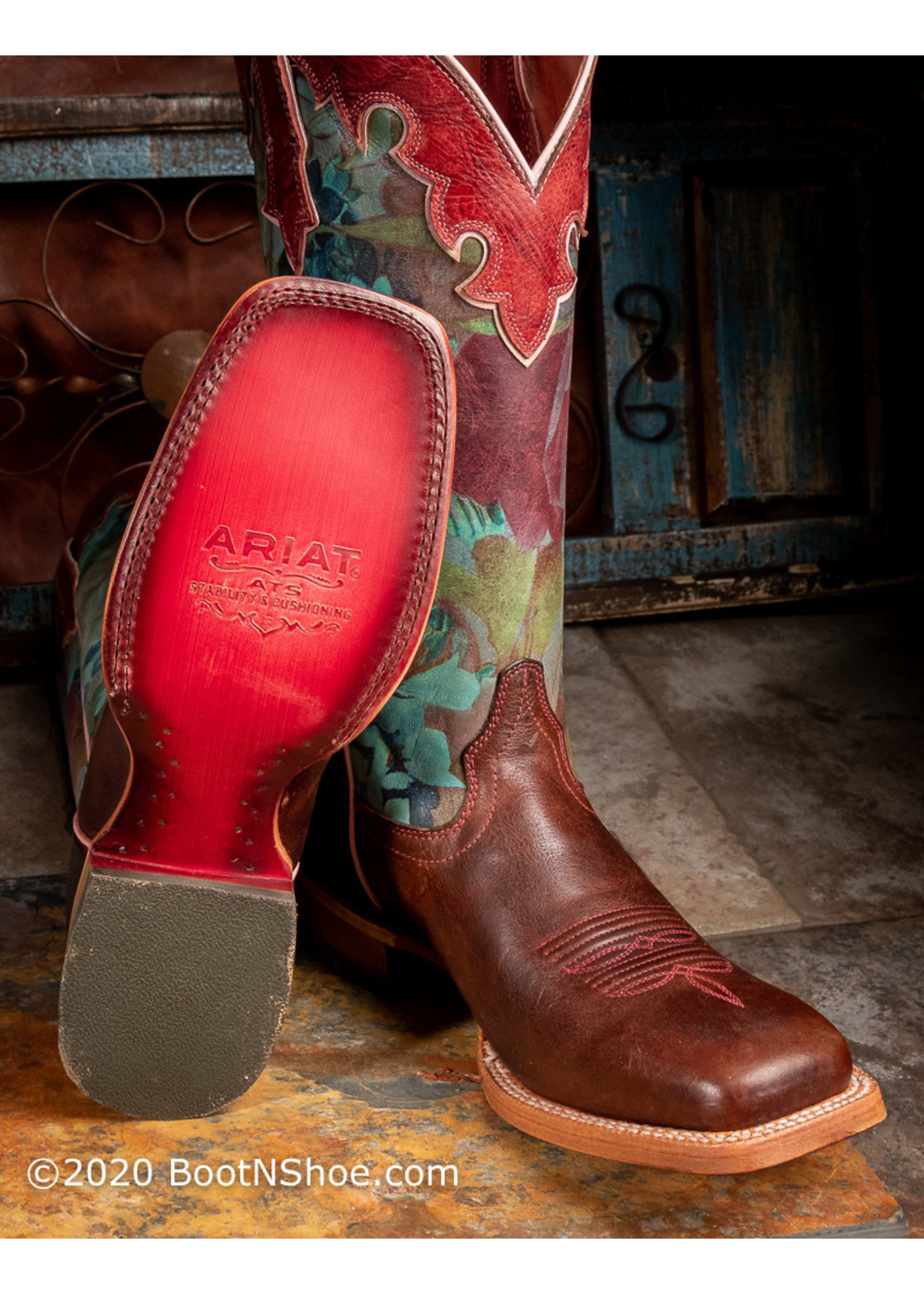 Ariat Women's Fonda Sequoia and Floral Watercolor Western Boots 10029710