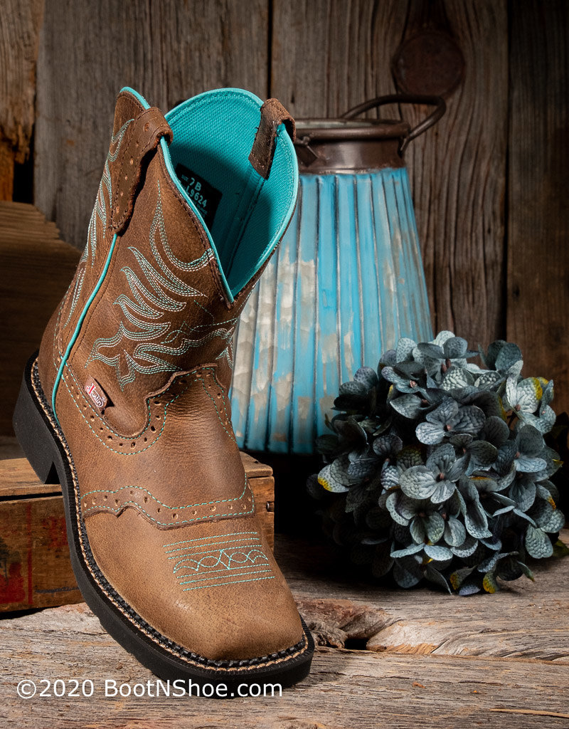 Justin Boots Women's Mandra Chocolate/Turquoise Gypsy Western Boots L9624