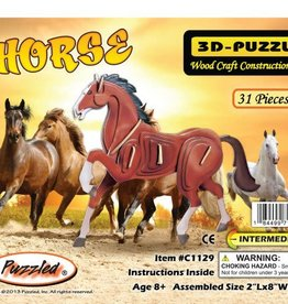 HORSE WOOD 3D PUZZLE PAINTED