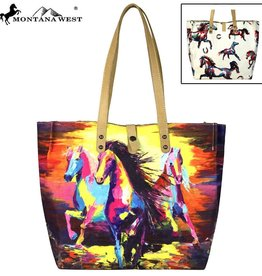 Montana West Horse Collection Dual Sided Print Canvas Fabric Tote
