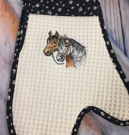 Oven Mitt Embroidered Horses