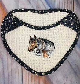 Pot Holder Heart Embroidered Horses