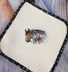 Potholder Embroidered Square Horse