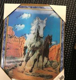 """PICTURE 3D 11 x 14"""" 2 HORSES"""