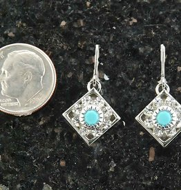 Earring crystal & im turquoise flower on wire