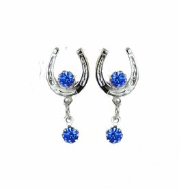Earring Horseshoe silver color with blue stones