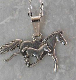 Mare & Foal necklace - retro silver color