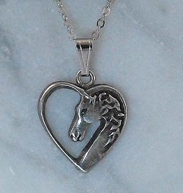 Necklace horse in heart silver color