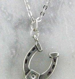Retro silver color necklace horseshoe w/ stone