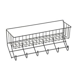 Wire 6-Hook Tack Rack with Basket Black One Size