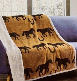 Horse Black Jacquard Fleece Sherpa Throw