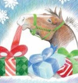 Christmas Card Horse Unwrapping Presents