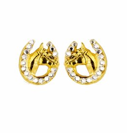 HORSE HEAD IN HORSE SHOE SWAROVSKI CRYSTAL STONE EARRINGS GOLD