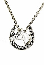 Necklace w/ horse head in horse shoe
